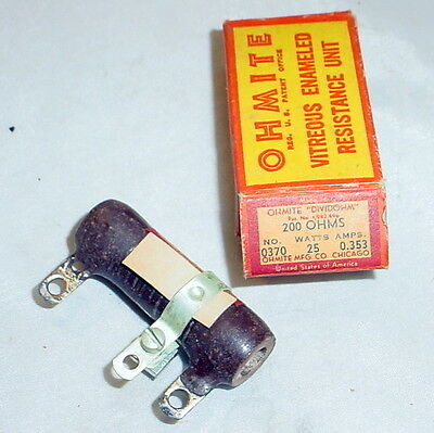 Nos Ohmite Dividohm Adjustable Resistor - 200 Ohms 25 Watts. 0.353 Amps