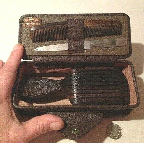 Vtg Buffalo Airlite Natural Ebony Wood Brush / Comb Set w/ G
