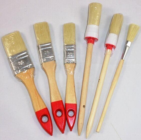 6 tlg Universal Pinsel Set Pinselset Universalpinsel Flachpinsel Rundpinsel Neu