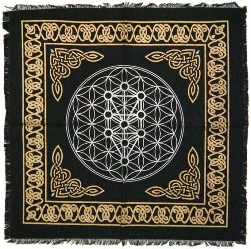 Black Kaballah Tree of Life ALTAR CLOTH 18 x 18 inch Wiccan Witch Pagan
