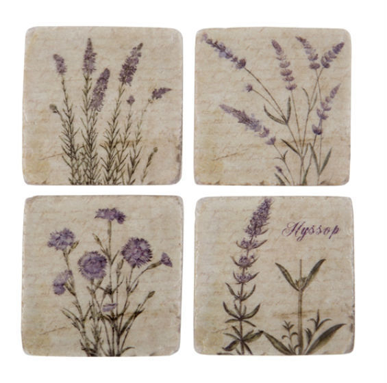 NEW Shabby Chic Set of 4 Ceramic Tile Coasters Wild Flower Antique Vintage Style