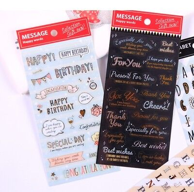 Happy Birthday For you Best Wishes Message sticker PVC with gold outline (Best Happy Birthday Wishes)