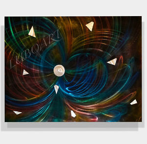 LARGE abstract METAL painting art brilliant shiny big wall decor
