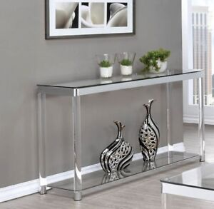Brand New! Chrome w/ Acrylic Leg Sofa Table