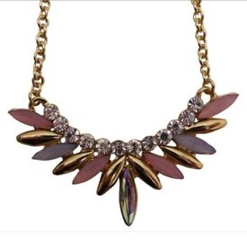 NEW DesignSix Gold Multicoloured Cluster Necklace