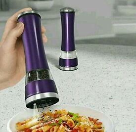 Morphy richards salt and pepper grinder set purple electronic perfect home kitchen mill set