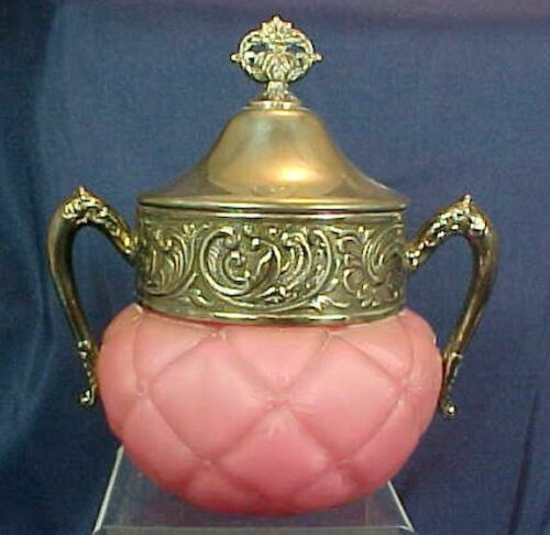 Antique Consolidated Glass Florette Pink Quilted Sugar with Silver Plate Lid