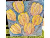 ORIGINAL OIL ON CANVAS ABSTRACT FLOWER PAINTING