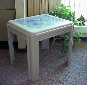 Mid Century Art Deco Style Coffee / Side Table  w/ Glass Insert