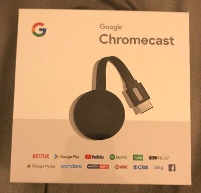 Google Chromecast Digital Hd Media Streamer   Black Brand New Still Sealed
