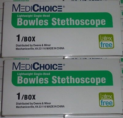 Lot Of 2 New Medichoice Bowles Stethoscope Light Weight Single Head X2