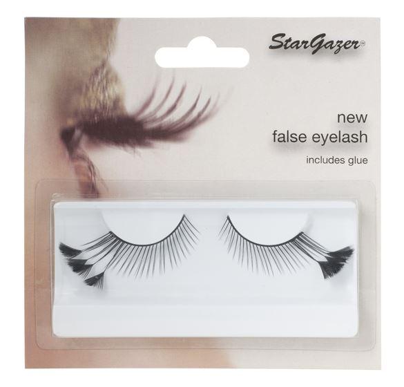 Stargazer False Feather Eyelashes #44 Black with Black Side Feathers