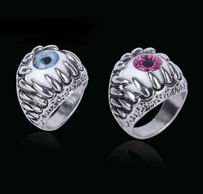 Classic Vintage Evil Eye Stainless Steel Finger Ring Eyeball Punk Goth Jewellery (Eyeball Ring)
