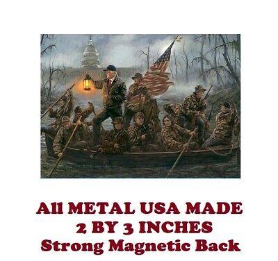 SM148- Trump Crossing the Swamp Art 2 by 3 Inch Metal Refrigerator Magnet