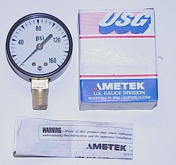 """New USG Ametek Gauge # B88 - 2"""" Dial Fig. P-500 ~ 1/4"""" LM ~ 0-160 PSI   # 46912"""