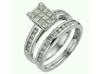 18ct white gold one carat diamond bridal ring set