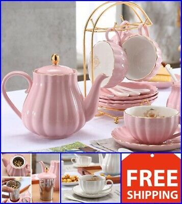 Porcelain Tea Sets (Vintage Tea Set Porcelain Tea Cup Coffee Saucers Set 13 Pc Premium Gifts,)