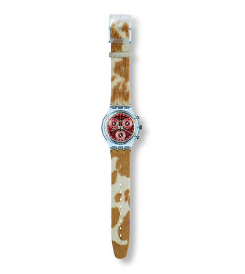 SWATCH FURY SCN 109 CHRONOGRAPH RED DIAL LEATHER BAND QUARTZ 1994 UNISEX WATCH