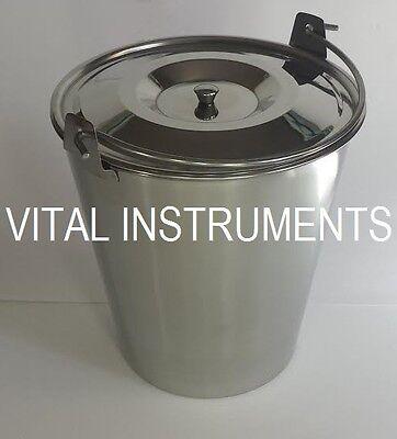 Stainless Steel Bucket Pail 9 Qt Dog Farm Water Milk Feeding Heavy Duty Lid