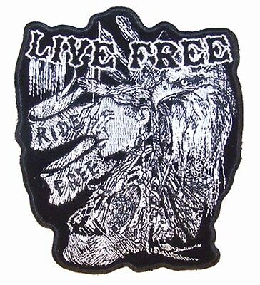 Live Free Brave Embrodiered Patch P4180 Bike Indian Iron On Sewon Patches
