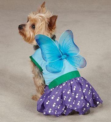 Dog Halloween Costume Woodland Fairy  XS-L Pet Casual Canine Blue (Fairy Halloween Costumes For Dogs)