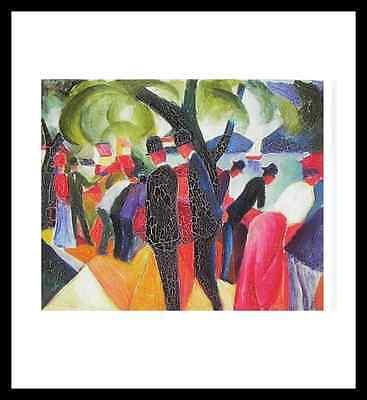August Macke Spaziergang auf der Brücke Poster Bild Kunstdruck & Rahmen 48x46cm