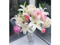 Shabby chic Flower Arrangement in a Roman Mirrored Vase 80cm