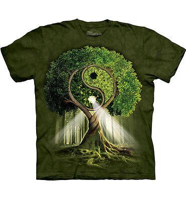 Yin Yang Grün T-shirt (The Mountain T-Shirt Yin Yang Tree Lebensbaum Esoterik Fantasy  S - 4XL)