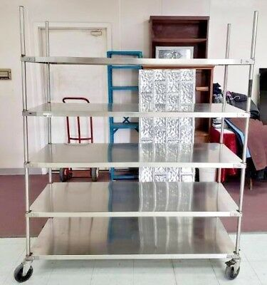 Commercial Stainless Steel Five Shelf 5 X 2 X 6 Mobile Cart