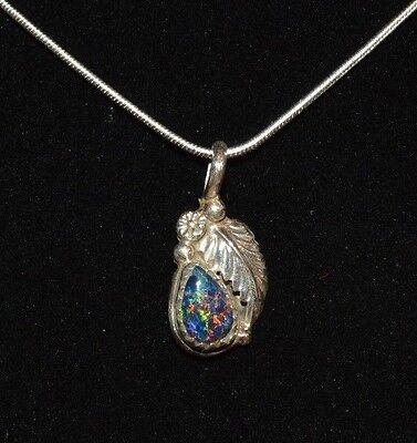 Necklace Pendant Deep Blue Fire Opal Teardrop Sterling Native American Navajo