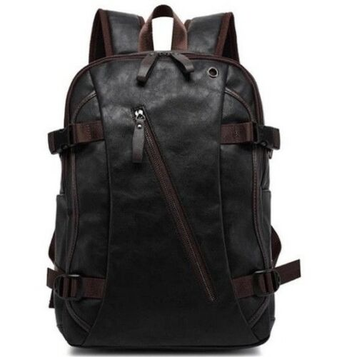 Mens Backpack PU Leather Travel Laptop Bag Shoulder Handbag