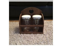 Wooden Heart shelving with two storage jars Shabby Chic, cottage kitchen storage