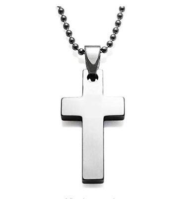 Tungsten Carbide Plain Small Cross Crucifix Pendant Necklace 22