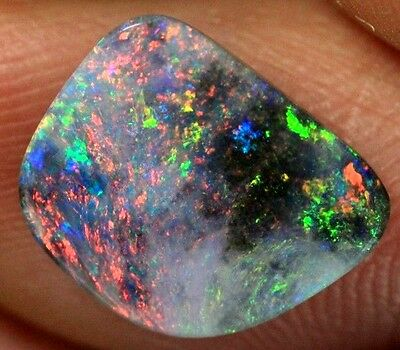 1.5 ct Natural Multicolored Lightning Ridge Solid Semi Black Opal stone