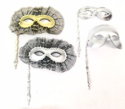 Venezianische Maskerade Maske auf ein Handgerät Stick Party Ball Gold & Silber (Stick Auf Masken)
