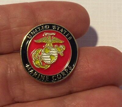 USMC Marine Corps lapel pin brass soft epoxy enamel nail clutch pin back 7/8 in