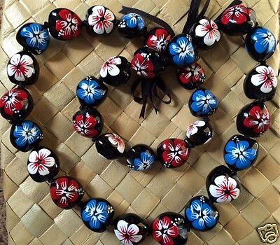 Kukui Nut Lei Hibiscus Necklace Patriotic Red White Blue Graduation Wedding Luau
