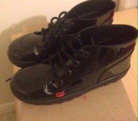 Black kickers school shoes