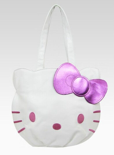 NWT HELLO KITTY DIE CUT FACE WHITE AND PINK TOTE HANDBAG PURSE