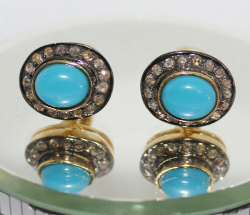 2.11cts ROSE CUT DIAMOND TURQUOISE ANTIQUE VICTORIAN LOOK 925 SILVER CUFFLINK