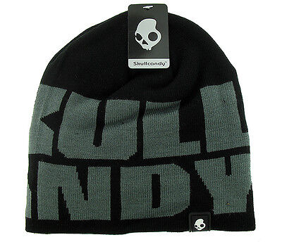 3e25b8faa37d3 Skullcandy Atlas Audio Speaker Beanie Hat Black Grey Skull New