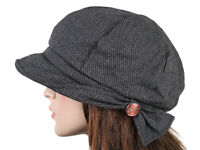 Grey Subtle Stripe Cap with Ornate Side Button