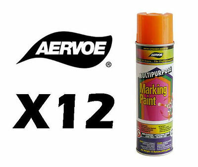 (Aervoe All Purpose Aerosol Marking Paint - Case of 12 - 15 oz net wt. - Orange)