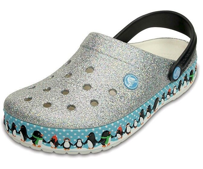 Crocs Crocband Penguins Clog Sandal silver/blue men shoes 203607-159 SIZE 12 NEW