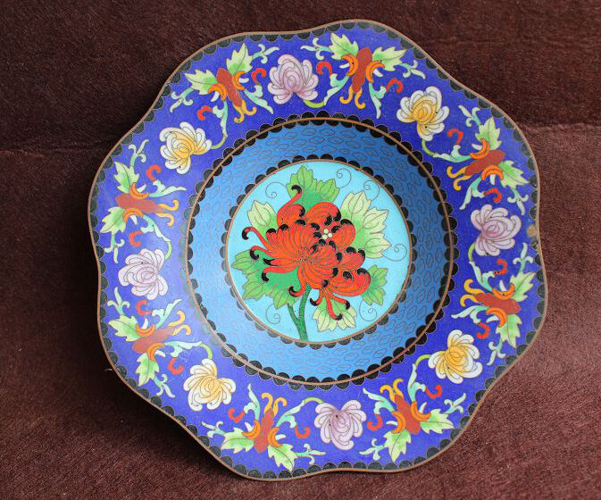 Elegant Flowers Cloisonne Plate W1082