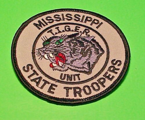 "MISSISSIPPI STATE TROOPERS T.I.G.E.R. UNIT 3 1/2"" POLICE PATCH  FREE SHIPPING!!!"
