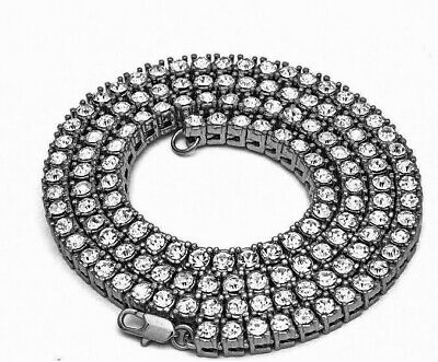 """360 Fully Iced Cluster Chain 30-36/"""" 14k Gold Finish Hip Hop Necklace"""
