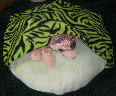 SMALL DOG BED SLEEPING BAG, GREEN ZEBRA-TIGER, COMFY COZY