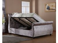 Storage Sleigh Bed - Mayfair Ottoman - Crushed (Silver)