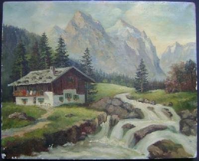 BEAUTIFUL GERMAN OIL PAINTING ZUGSPITZE MOUNTAIN ALPINE LANDSCAPE, SIGNED & NICE